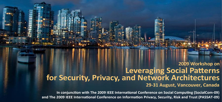 Workshop on Leveraging Social Patterns for Privacy, Security, and Network Architectures